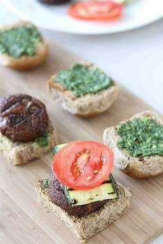Grilled Mushroom Sliders with Spicy Cilantro Almond Pesto