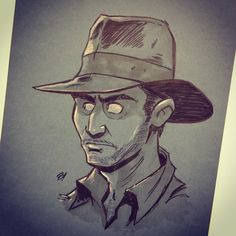 Indiana Jones: ink on toned paper by Dave Bardin.