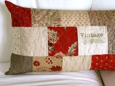 """French """"vintage"""" patchwork, French General by Moda quilted pillow cover, 14 x 28 rectangular pillow"""