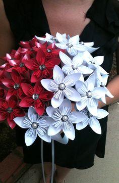 kusudama origami flower bouquet pink & white
