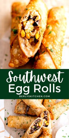 This Southwest Egg Rolls recipe makes the perfect party appetizer or even light lunch! They're crispy on the outside and packed with chicken, cheese, veggies, and flavorful spices. Party Dip Recipes, Egg Roll Recipes, Easy Appetizer Recipes, Appetizers For Party, Southwest Egg Rolls, Poppers Recipe, Party Sandwiches, Game Day Food, Dinner Dishes