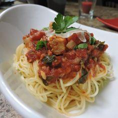 "Basil Chicken over Angel Hair | ""A tasty chicken and pasta dish!"" #worldcuisine #internationalrecipes #globalrecipes #regionalrecipes"