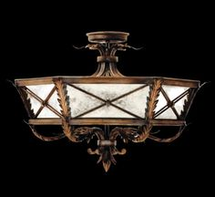 Fine Art Lamps Newport Three-Light Semi-Flush Mount in Rustic Burnished Gold w/ Silver Highlights Finish, Transitional Semi Flush Lighting, Semi Flush Ceiling Lights, Flush Mount Ceiling, Ceiling Lighting, Newport, Distressed Mirror, Silver Highlights, Transitional Chandeliers, Large Lamps