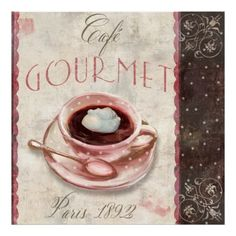 Coffee, Gourmet Cafe, Paris Vintage Print