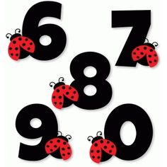 Silhouette Design Store: ladybug numbers 6 7 8 9 0