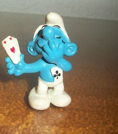 Smurf Card Player Pink Hearts Germany Figure Toy Peyo Puffi Pitufo Schleich 1980