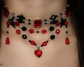 Queen of Hearts Gothic Choker - Alice in Wonderland Victorian Necklace - Black and Red - Goth Victorian Burlesque Jewelry