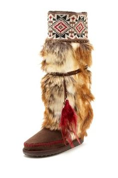 kinda liking these-would feel like pocahontas! good priice sale 45 Lola Tall Faux Fur Boot with Knit Cuff