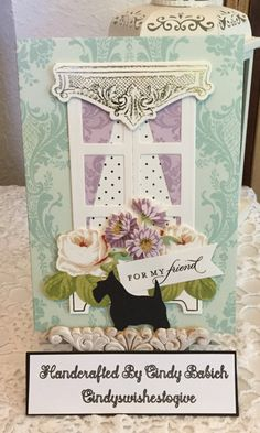 Birthday Card / Made with Anna Griffin Window Ledge Card Making Kit / Handcrafted By Cindy Babich (cindyswishestogive Window Ledge, Window Frames, Windows 1, Anna Griffin Cards, Card Making Kits, Window Cards, Hearth And Home, Die Cut Cards, Shaker Cards