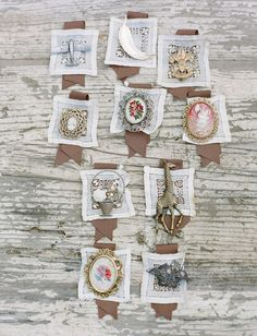 vintage boutonnieres (http://greenweddingshoes.com/handmade-vintage-barn-wedding-paige-geoff/)