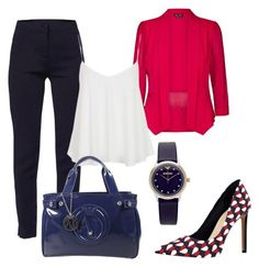 """Blue and red in office"" by prettyfashionist on Polyvore featuring WtR, City Chic, Nine West, Topshop, Armani Jeans, Emporio Armani and plus size clothing"