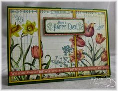 "April 2015 G45 Time to Flourish - April ""Have a Happy Day"" Card by Miriam Napier; Miriam's Delirium"