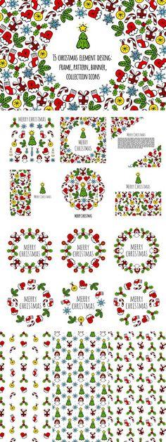 15 christmas element desing. Christmas Patterns. $15.00