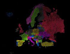 Реки Европы в цвета радуги [2000x1570] [OC]