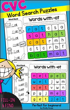 CVC Word Search Puzzles with a twist. Students will look at the pictures, fill in the missing letters, then find the words in the puzzle. Great for word work, centers, and early finishers! Smart Board Activities, Smart Board Lessons, Word Work Activities, Reading Activities, Teaching Reading, Short Vowel Activities, Phonics Activities, Kindergarten Activities, Phonics Centers