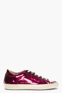 GOLDEN GOOSE Metallic Fuchsia Leather Superstar Sneaker Cyclamin Skate Shoes   515 Scarpe Da Skate 8ae589daf9d