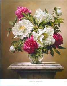 White and Red Peonies, a still life oil painting of flowers by Pieter Wagemans at the India Art Summit. (IANS Photo