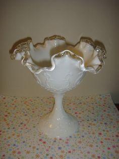Fenton Comport Silver Crest Spanish Lace Milk Glass by MJCorner