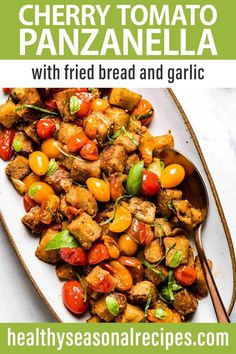 This easy 20 minute recipe for Cherry Tomato Panzanella Salad is cooked in a skillet to burst the cherry tomatoes. We've added in garlic, herbs and balsamic vinegar to season it.