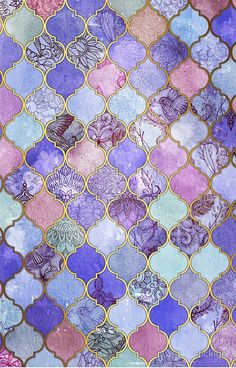 Royal Purple, Mauve & Indigo Decorative Moroccan Tile Pattern Art Print by micklyn