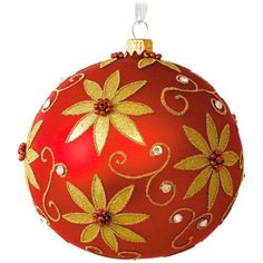 Red Poinsettia Glass Ball Ornament, , large
