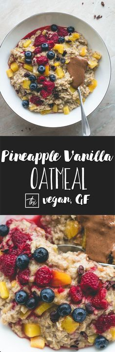 Pineapple Vanilla Oatmeal (vegan, gluten-free) - the best tropical breakfast! Only a few simple ingredients and 15 minutes to make. This pina colada oatmeal is really easy to make and super delicious! You'll love this recipe! | thehealthfulideas.com via @healthfulideas