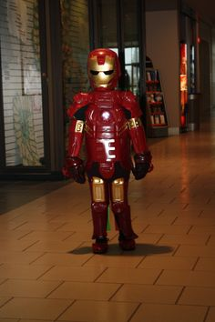 Iron Man made from Milk jugs, gatorage bottles and laundry detergent bottles, 90% recycled.
