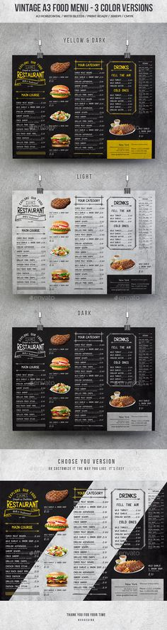 Vintage A3 Food Menu - 3 Color Versions - Food Menus Print Templates Download here : https://graphicriver.net/item/vintage-a3-food-menu-3-color-versions/19603452?s_rank=41&ref=Al-fatih