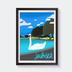 Inspired by our beautiful Southsea, this print adds a pop of colour to the iconic Canoe Lake.  Hand-drawn and printed on high quality A4 card with the option of a black frame, this print looks great on any Southsea-lovers wall!