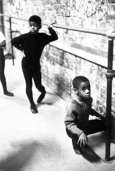 N.Y.C., Harlem, neighbourhood ballet class, 1968. Photo by Eve Arnold as part of the Black is Beautiful series. | dance class | african american | ballet | tap | boys |