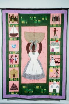 Gullah Ooman story quilt depicts carrying a sweetgrass basket and more . African American Studies, African American History, Textiles, Black History, Art History, African Quilts, African Diaspora, African Culture, Black Art