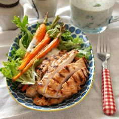 Who's up for flavorful & juicy grilled garlic & buttermilk chicken salad with buttermilk-tahini dressing?