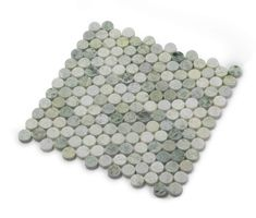 """Sheet Size: 12""""x12"""" actual 12.15""""x12.15""""x8mmn Polished Ming Green Marble 1"""" Penny Round Mosiac floor and wall tile. Packaged in Boxes of 5 SQFT. Lovely hues of pale green + jade green + gray green marble. Bathroom/shower floors, tub surround, accent walls, kitchen backsplash, fireplace surround. Bathroom Floor Tiles, Shower Floor, Wall Tiles, Marble Mosaic, Mosaic Tiles, Penny Tile, Green Marble, Classic Interior, Contemporary Interior Design"""