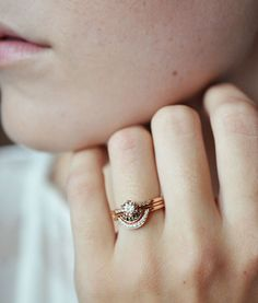 Anna Sheffield Rose Gold Crescent Band with the Diamond Hazeline & Rose Tiny Crescent Band