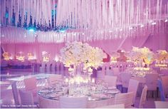 FAUX CEILING – Using hundreds, if not thousands of fabric strands weighted with a single crystal accent, the ceiling is completely transformed, creating an intimate space with serious visual impact