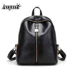 43e64782c214 AEQUEEN Rivet Backpacks PU Leather Women Shoulder Bags Zipper Lady Rucksacks  Students Schoolbags Girls Mochila Black