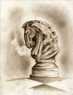 horse knight chess piece drawing sketch tattoo design