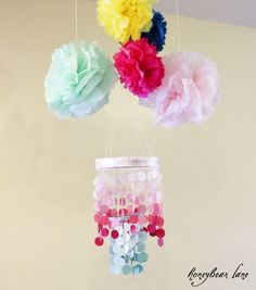 paintchip chandelier for dollhouse dining room, paper flowers for bedroom Diy Projects To Try, Crafts To Make, Arts And Crafts, Diy Crafts, Baby Decor, Baby Shower Decorations, Wedding Decorations, Baby Shower Parties, Baby Showers