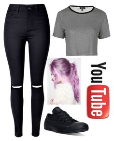 """idk y, but this outfit reminds me of colliscool"" by slowlygivingup724 ❤ liked on Polyvore featuring Converse, Topshop and WithChic"