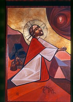 Jesus in Gethsemane Coptic Icon by Isaac Fanous 1978