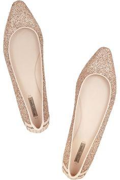 glitter-finished ballet flats / bottega veneta