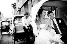 An Oxon Carts wedding rickshaw traveling on Merton Street, Oxford by Oxon Carts, via Flickr