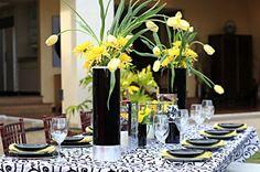 yellow & black -- so modern #wedding #Hawaii