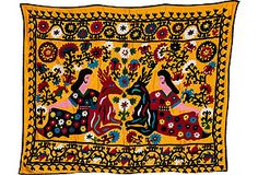 Vibrant Suzani Coverlet, Women & Deer