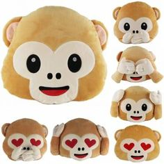 40cm Lovely Emoji Monkey Throw Pillow Plush Stuffed Cushion Office Home Sofa Decoration Gift - Banggood Mobile