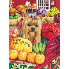 This vibrant and colorful flag features an image from my own original painting. Image is printed on both sides. The back shows shows a mirror image of the front. flag stand not included. Flag Stand, Welcome Fall, Autumn Painting, Mirror Image, Garden Flags, Yorkshire Terrier, Dog Art, Four Seasons, 1000 Piece Jigsaw Puzzles