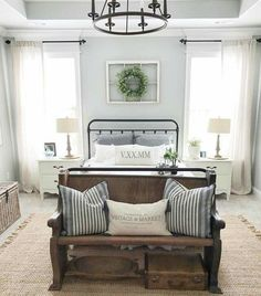 Hope chest instead of bench up against the footboard with pillows