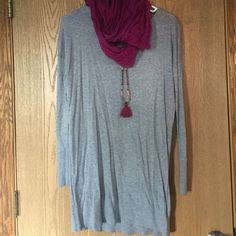 Ruby Moon Dress Like new condition. Worn once. No stains/flaws. Gray long sleeve, zippered back, versatile dress. Purchased from local boutique. Scarf available in another listing. Necklace is not for sale. Anthropologie Dresses Long Sleeve