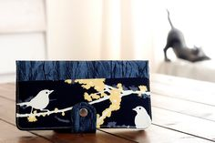 Handmade  Wallet - BiFold - Bird Wallet - Handmade Fabric Wallet / Hello Birdie in Black -- PREORDER. $52.00, via Etsy.
