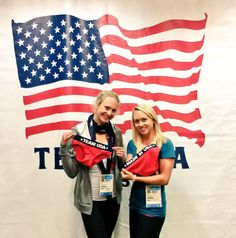"""U.S. Olympic Team @TeamUSA  """"Our first stop in Toronto was Team USA Team Processing! We HAD to take a pic with Team USA Briefs.""""@SamanthaAUSA Samantha Achterberg,USA Pentathlon and Margaux Isaksen"""